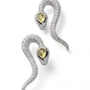 Frieden Creative Design- earrings serpent – white gold 18k, 284 diamonds, 2 yellow sapphires