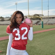 LOS ANGELES, CA - JANUARY 13:  Victoria's Secret Angel Jasmine Tookes shoots the #ScoreMore football video on January 13, 2016 in Los Angeles, California.  (Photo by Charley Gallay/Getty Images for Victoria's Secret)