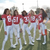 LOS ANGELES, CA - JANUARY 13:  Victoria's Secret Angels Alessandra Ambrosio, Taylor Hill, Jasmine Tookes, Elsa Hosk and Adriana Lima shoot the #ScoreMore football video on January 13, 2016 in Los Angeles, California.  (Photo by Charley Gallay/Getty Images for Victoria's Secret)